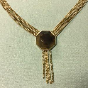 BANANA REPUBLIC GOLD TONE FAUX TOPAZ STONE
